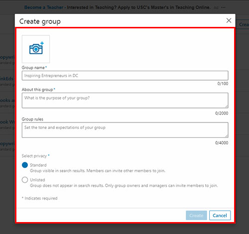 Screenshot of LinkedIn showing the dialog box for creating a new group, with placeholders for you to add a logo, group name, privacy setting, description, and rules.