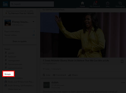 Screenshot of LinkedIn home news feed with Groups link highlighted on the left side of the feed.